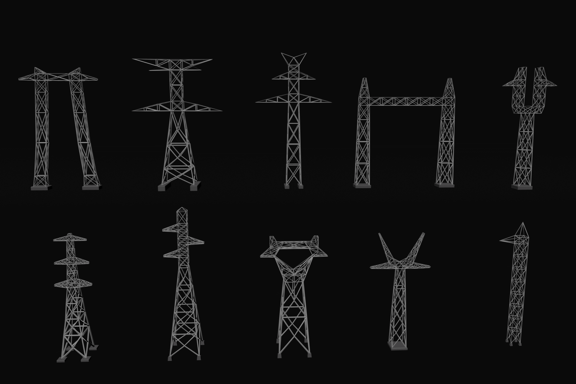 Lowpoly Electric Towers