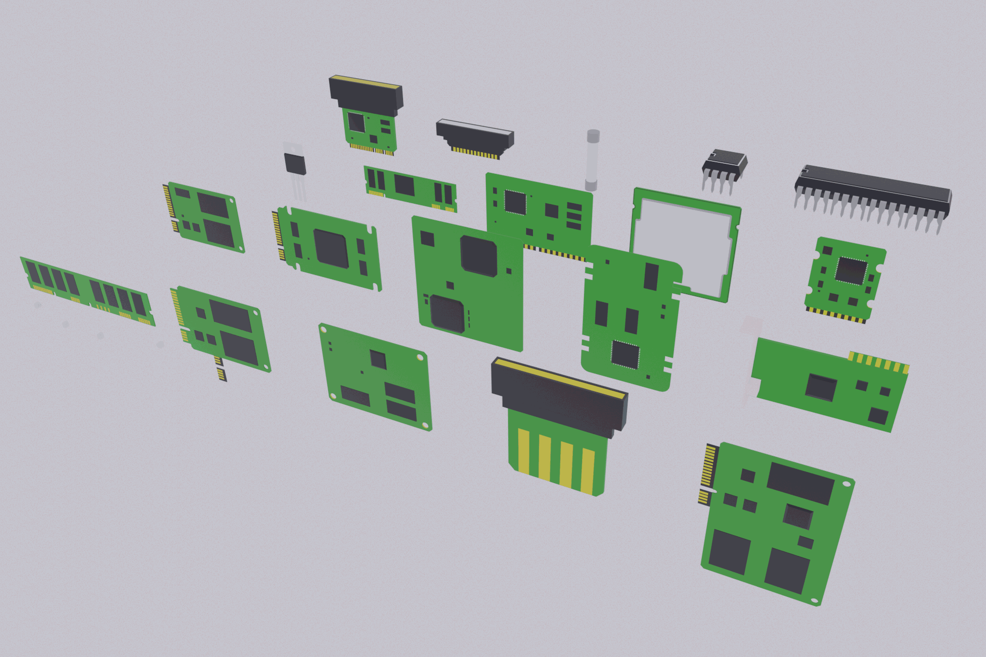Lowpoly Electronic Components