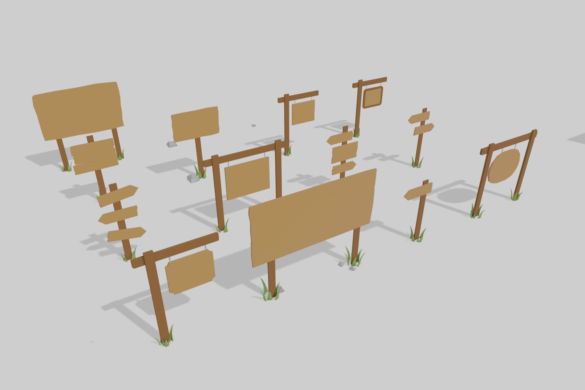LowPoly Wood Signs
